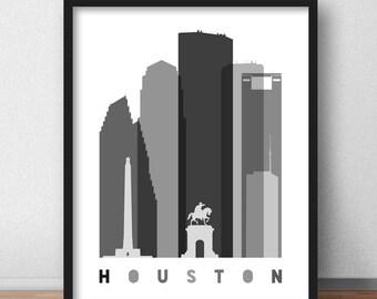 Houston Skyline, Houston Print Black and White, Houston Wall Art, Texas Cityscape, Travel Decor Art Minimalist (G0138)