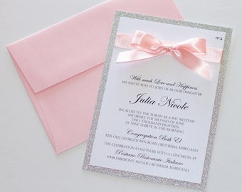 Bat Mitzvah Invitations   Glitter Invitation   Elegant Invitation   Sweet 16   Quinceanera   Bling Invite   Silver Glitter & Pink  - SAMPLE