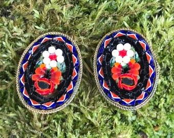 Vintage Mosaic Clip Earrings Italy