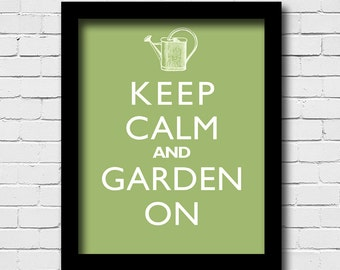 Garden Wall Decor - Keep Calm And Garden On - Antique Watering Can - Art Print