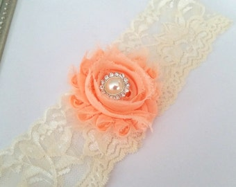 Ivory and Peach Bridal Garter,Stretch Lace Garter, Keepsake Garter, Wedding Garter, Bridal Garter