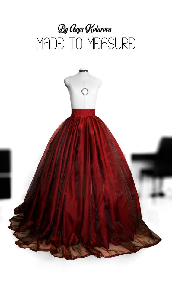 Deep red organza ball gown skirt Full wedding gown Satin