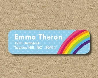 Rainbow return address labels, rainbow birthday party address labels, self-adhesive rainbow stickers