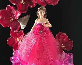 Mis Quince Años Elegant Quinceanera Fuchsia Dress Cake Topper