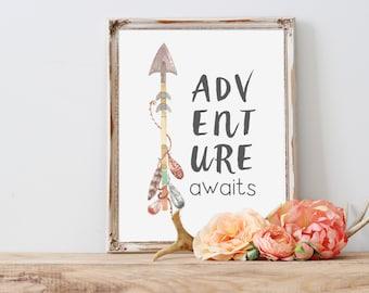 Tribal Nursery Art Print, Arrow Art Print - Adventure Awaits Art Quote - Nursery Art Quote, Tribal Art, Arrow Print - Instant Download