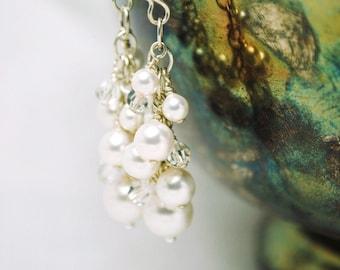 Bridal Earrings, White Pearl Crystal Cluster Earrings, Dangle Bridal Jewelry, Wedding Jewelry, Amber E240