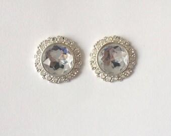 Vintage 1960's Hollywood Glamour Large Round Rhinestones Statement Earrings