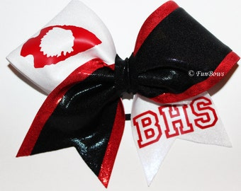 Custom School Logo or Initials Cheerleading Bow by Funbows