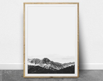 Minimalist Art, Mountain Print, Modern Art Print, Nordic Art, Printable Art, Black and White Photography, Nature, Monochrome, Mountain Range