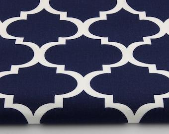 100% cotton fabric piece 160 x 50 cm, textile printing, cotton 100% on a blue moroccan lattice
