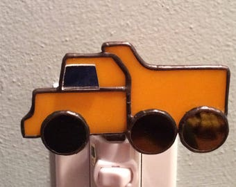 Stained Glass Yellow Dump Truck Night Light