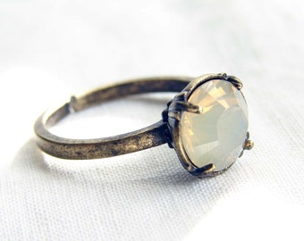 Adjustable Ring. Opal Solitaire Ring. Vintage Inspired - Sand Opal, Crystal, Rose Peach or Indian Sapphire