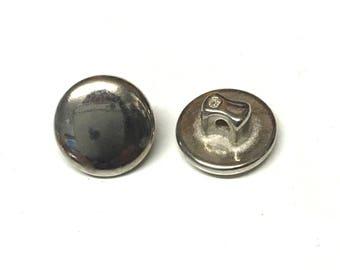 10, silver buttons, metal buttons, 11mm round buttons, antique silver buttons, vintage buttons, military buttons, shank buttons, cuff button