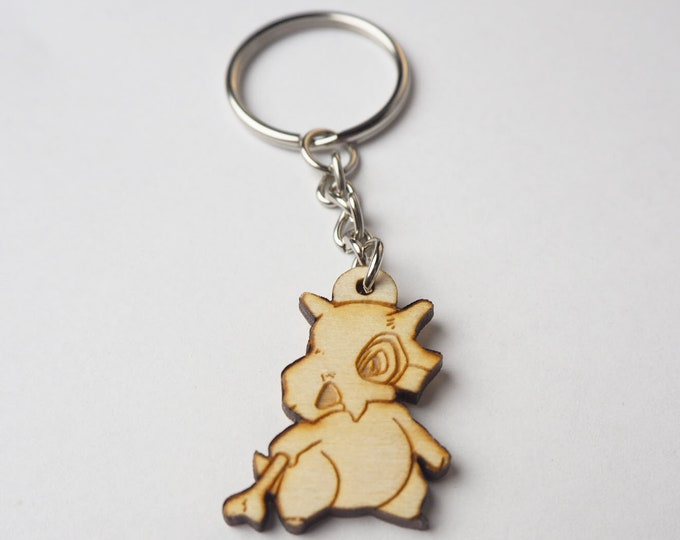 Cubone Pokemon Keychain | Laser Cut Jewelry | Wood Accessories | Wood Keychain
