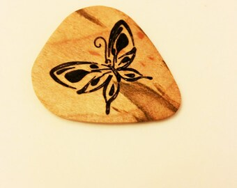 Personalized Butterfly Guitar Pick, Custom Engraved Butterfly Guitar Pick, Wood Laser Burned Butterfly Guitar Pick