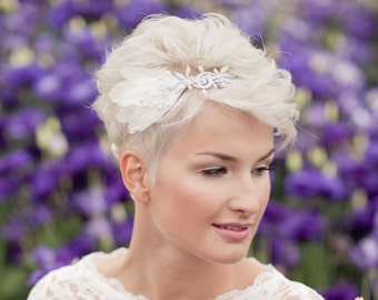 headband silver with feathers