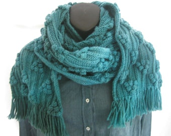 Chunky hand knit turquoise long scarf, hand dyed winter wrap, up cycled wool thick textured knit, bright blue one of a kind knit scarf