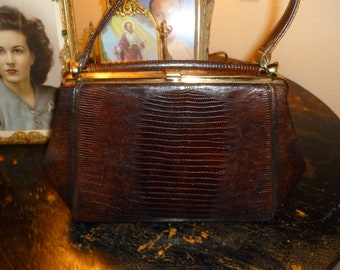 Fabulous Little Chocolate Brown Lizard Handbag With Gold Tone Hardware 1940's