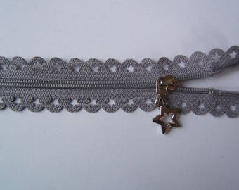 Edward closure lace star 25 cm light grey