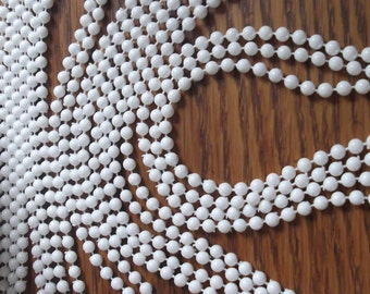 CLEARANCE SALE Shop Closing Going Out of Business 10 Yards White 4mm Plastic Ball Chain, Plastic Bead Chain, Mardi Grass Beads