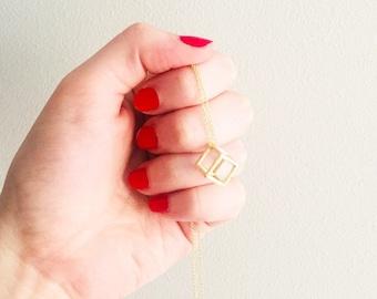 Brushed matte gold cube minimalist geometric pendant necklace