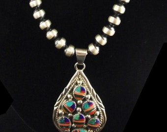 Multi Stone Inlay Pendant On Navajo Pearls
