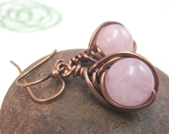 Rose quartz earrings -  wire wrapped gemstone earrings - copper wire earrings - pink earrings - antiqued copper wire wrapped earrings