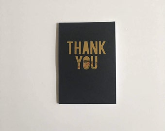 Handmade Black & Gold Thank You Greeting Cards