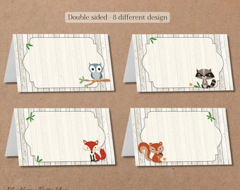 Woodland forest animal buffet cards / Food label / Place cards, Woodland Baby Shower, Woodland Birthday, Editable, Instant Download - BSU001