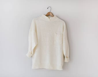 SALE - Vintage Off White Sweater // Oversized Soft Off White Sweater // Size Large