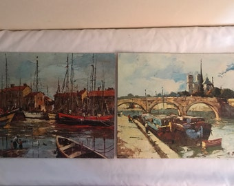 Boats in Harbor and Canal Scene Vintage Lithographs by M. Martin -- Winde Fine Prints -- 8 x 10 -- Great Condition