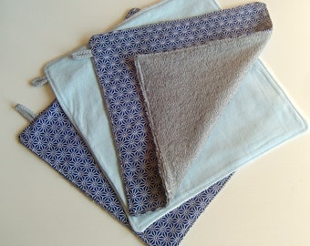 Set of 3 towels washable and reusable, economic and ecological. Zero waste.