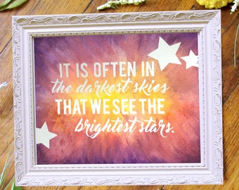 Quote Wall Art, Bright Stars, Original Watercolor Painting, Inspirational Wall Art, Choose Your Colors, Inspirational Quote, Home Decor