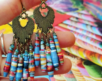 Bird Life Nature Book Paper Bead Chandelier Earrings