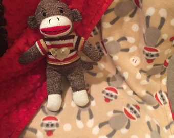Sock Monkey Minky Baby Blanket, Security blanket, toddler throw