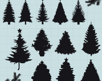Christmas Tree Clipart, Pine Tree Clipart, Pine Tree Silhouettes Clipart, Tree SVG, Digital Clipart Tree, Instant Download