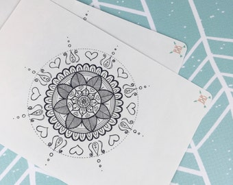 Full Page A5 Mandala Coloring Sticker - Version 1