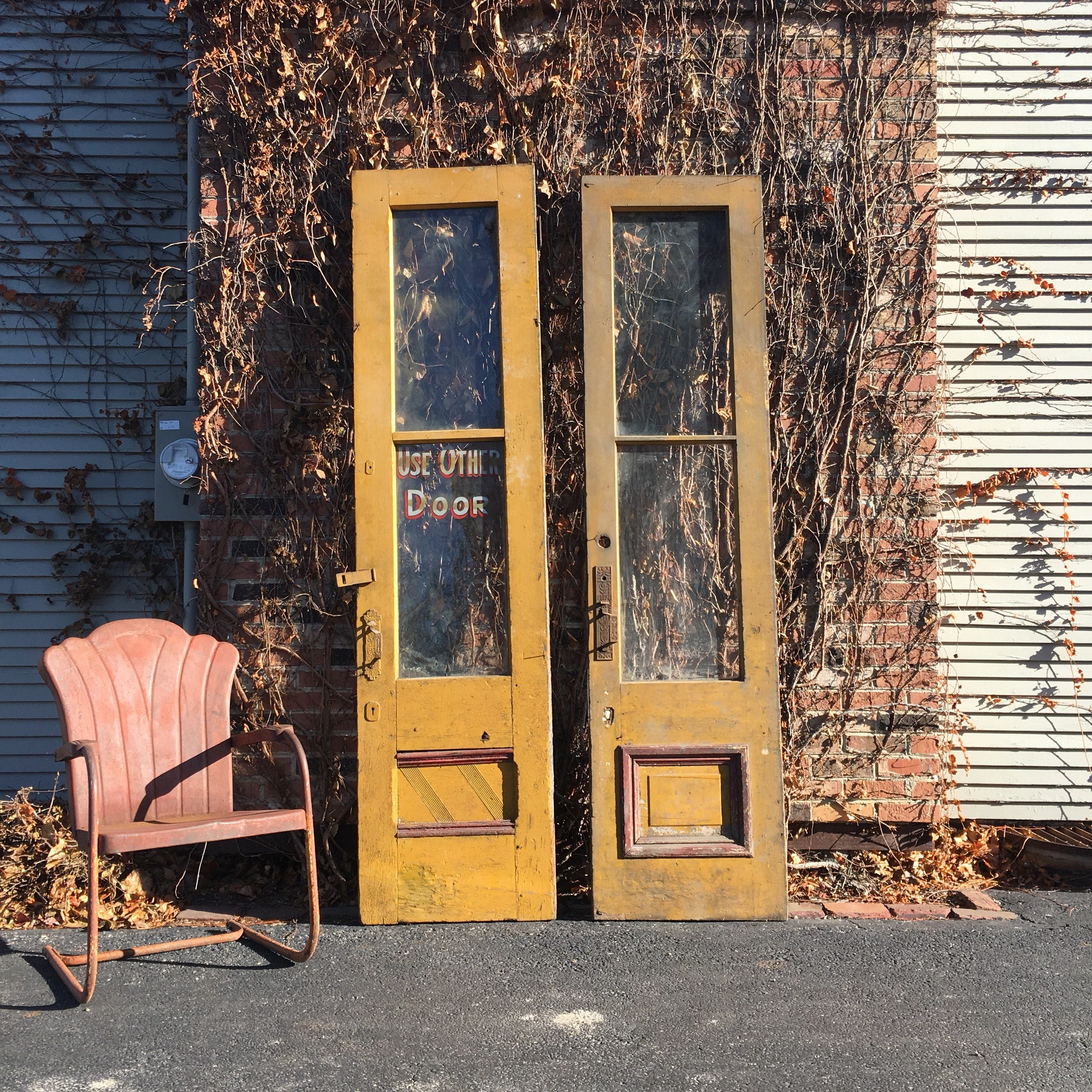 Antique Yellow Doors with Ornate Hardware Hand Painted Use Other Door Sign Unique Pair of Doors Antique Barn Door Architectural Salvage & Antique Yellow Doors with Ornate Hardware Hand Painted Use Other ...