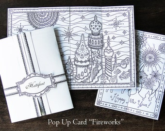 Pop Up Card Fireworks 3D Coloring incl. Coloring Pages