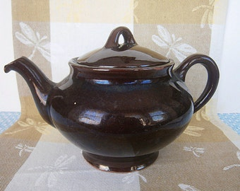 Vintage Royal Canadian Dark Brown Tea Pot, Art Pottery, Vintage Pottery, Vintage Tea Pot, 1960's,