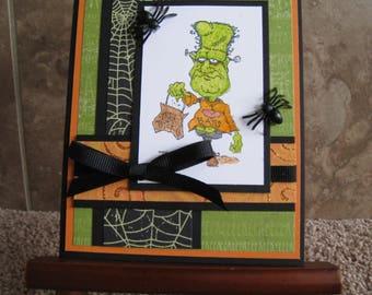 Frankenstein Handmade Halloween Card - Stampin Up