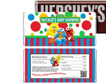 PRINTED Or Digital Baby Elmo Baby Shower Candy Wrappers, Baby Sesame Street  ...