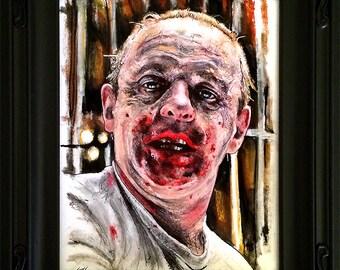 Hannibal Lecter - Original Drawing - Silence of the Lambs Dark Art Horror Anthony Hopkins Cannibal Serial Killers Pop Art Lowbrow Blood 90s