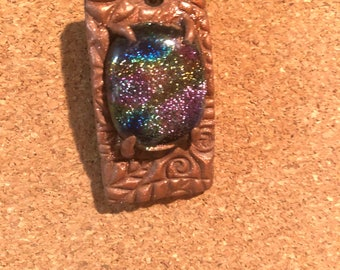 Resin and dichroic glass pendant