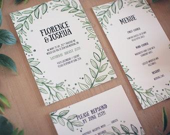"""Botanical Wedding Invitation / Printable Wedding Invite / Invitation Set Digital Wedding Invitation / Printable high-res file Design """"Fauna"""""""