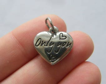 BULK 5 Only you heart charm darks silver tone stainless steel M55