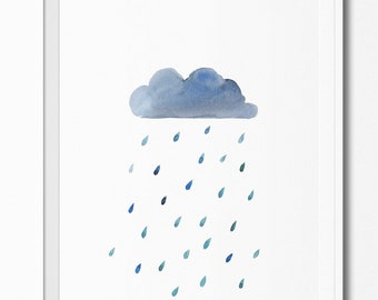 Watercolour Rain Drop Cloud Poster Wall Art Baby Nursery Kids Room Printable Minimalist Home Decor Instant Download