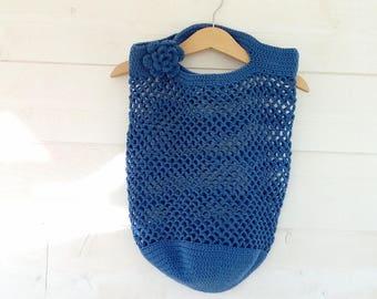 "Bag/NET crocheted blue ""denim"" crochet embellished with a flower"