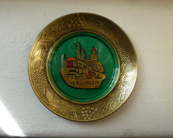 Judaica vintage miniature brass and teal wall hanging, Jerusalem from Israel
