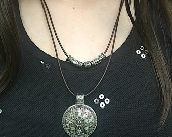 Bohemian Leather Necklace, Antiqued Silver Plated Pendant Leather Necklace, Bohemian Leather Jewelry